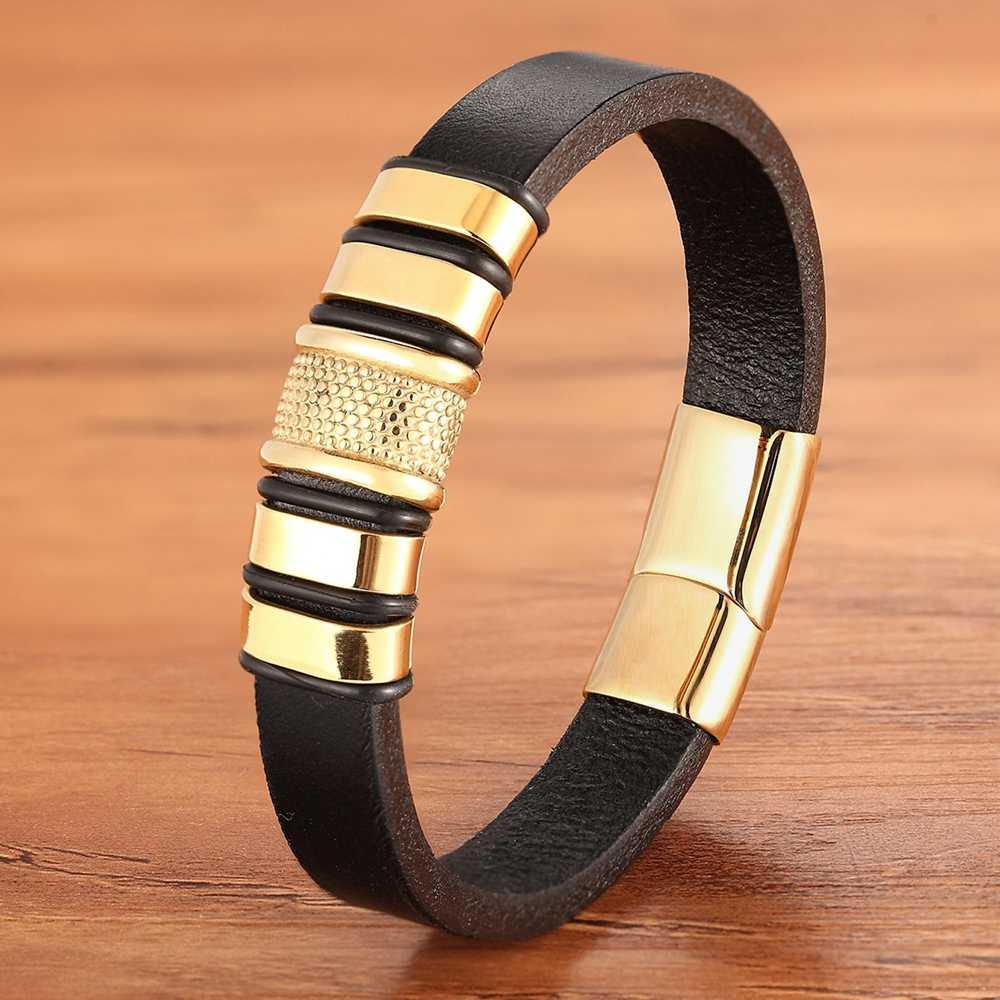 Tek katmanlı altın küçük aksesuarlar kombinasyonu paslanmaz çelik erkek deri bilezik DIY özel boyut oyma logosu klasik hediye