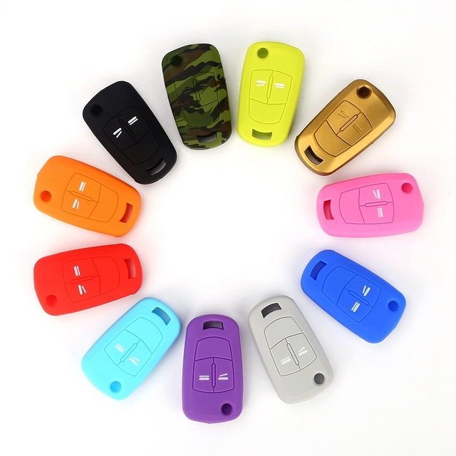 Hot silicone car key cover case shell fob for Vauxhall Opel Corsa Astra Vectra Signum 2 Buttons  remote key shell