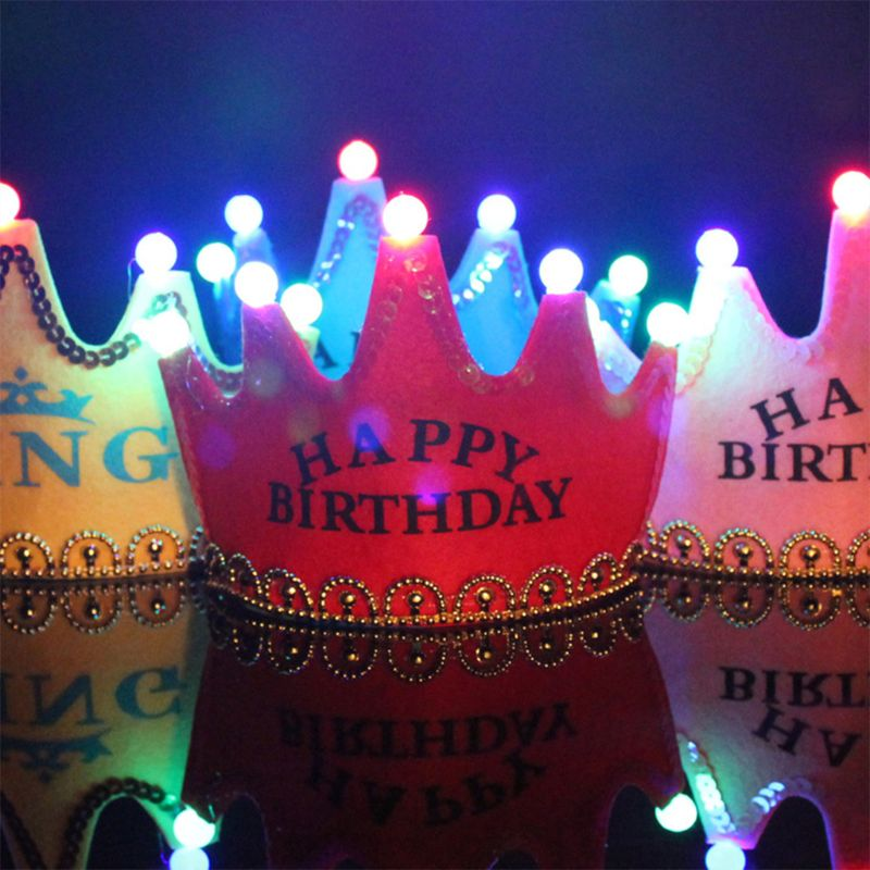 1PC Kids Children Party Toys Glowing Crown Birthday Hat Princess Favors Party Decor 2 Colors
