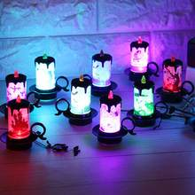 Pumpkin Haunted House LED Candle Lamp Halloween Party Light Desktop Ornament Party DIY Decorations(China)