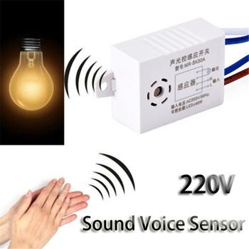 Nowy moduł 220V detektor dźwięk czujnik głosu inteligentne automatyczne włączanie wyłączanie światła przełącznik tanie i dobre opinie Durable Z tworzywa sztucznego Przełącznik czujnika Sound Sensor Switch