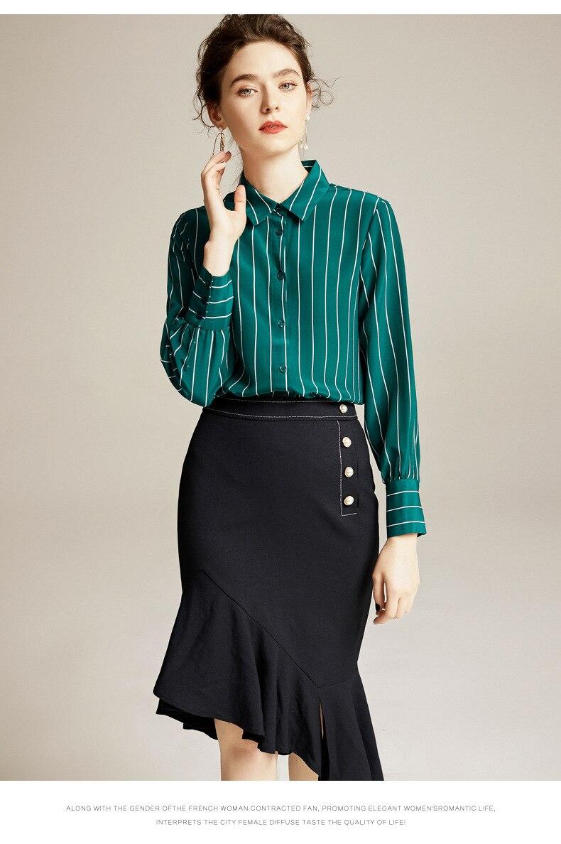 Damska zielona koszula 100% naturalny jedwab bluzki damskie  pY1Bw