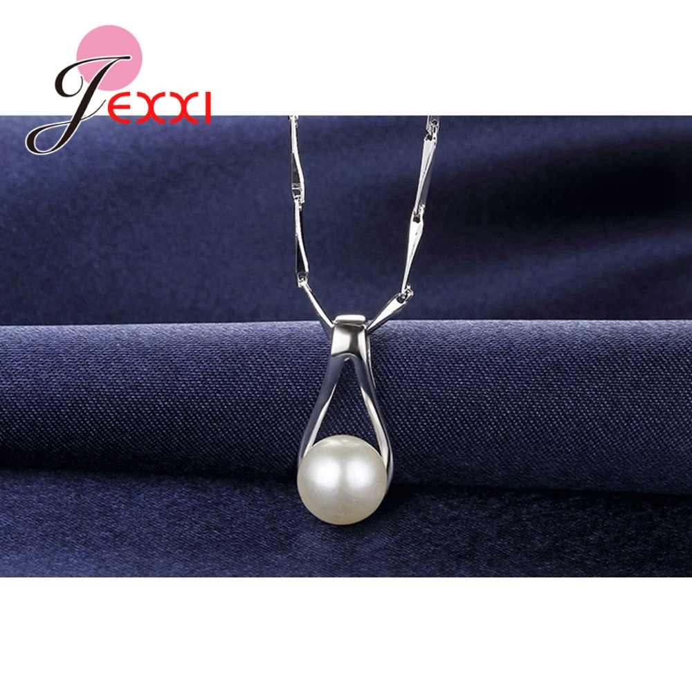 Fast Delivery Women Romantic Fashion Jewelry Sets 925 Sterling Silver Pearl Pendant Earrings Necklaces For Wedding/Engagement