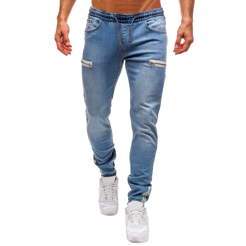 Styles Men Pants Stretchy Ripped Skinny Biker Embroidery Print Jeans Zipper Hole Slim Fit Denim Scratched Jeans