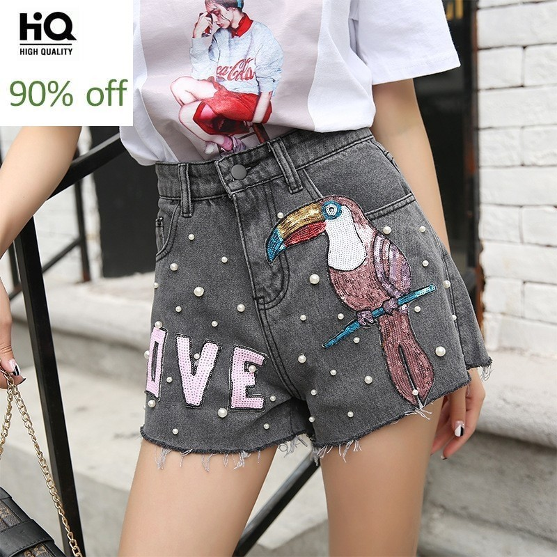 2020 Jeans Shorts Girls Summer Sequined Embroidery Beading Mini Shorts Loose Fit Vintage Short Jeans Female Streetwear Grey Blue