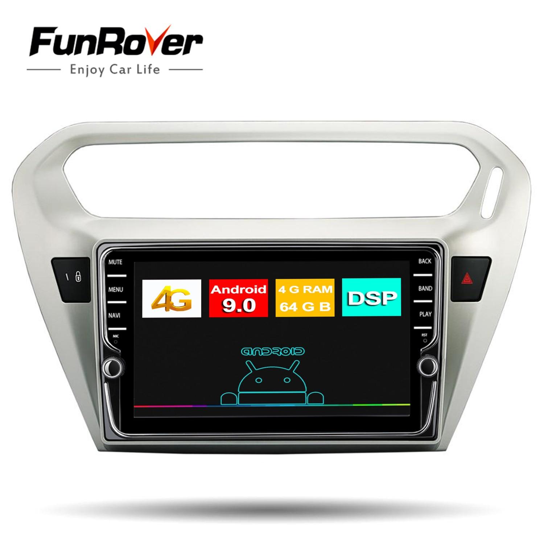Funrover ips Android 9,0 автомобильный dvd плеер gps навигация Мультимедиа Радио для peugeot 301 Citroen Elysee радио 2013 2016 2 Din Dsp
