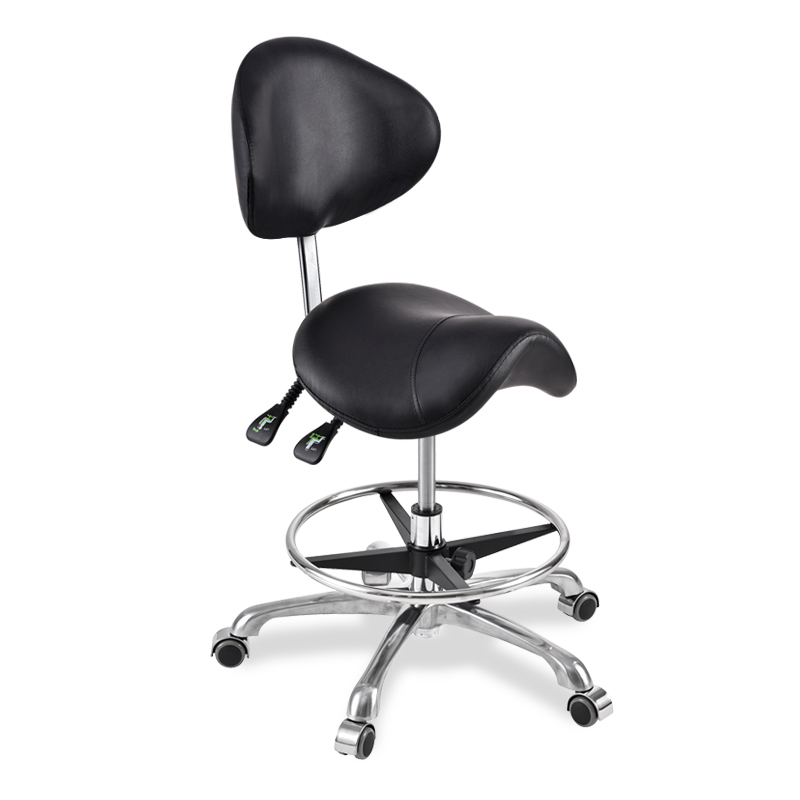 Y Modern Message Saddle Chair With Footrest&Swivel Adjustable Leather Chair Medical Spa Drafting Stool with Back For Home/Office|  - title=