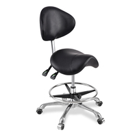 Y Modern Message Saddle Chair With Footrest&Swivel Adjustable Leather Chair Medical Spa Drafting Stool with Back For Home/Office