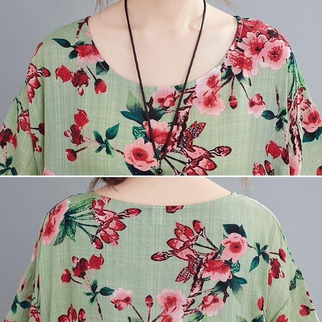 Plus Size Floral Summer Beach Dress Korean Cotton Ladies Dresses for Women 4XL 5XL 6XL Vintage Print Oversized Long Dress 2020 5