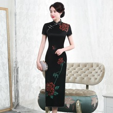 2019 Real Style Painting Heavy Weight Silk Cheongsam Long Short Sleeve Factory Direct Sale Large Size Womens High end Elegant