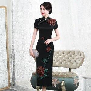 Image 1 - 2019 gerçek stil boyama ağır ipek Cheongsam uzun kısa kollu fabrika doğrudan satış büyük boy kadın yüksek son zarif