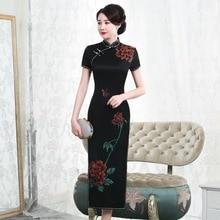 Cheongsam de seda de gran peso con pintura de estilo Real 2019 de manga corta, venta directa de fábrica, de gran tamaño, elegante para mujer