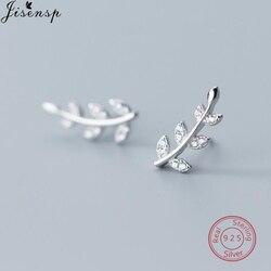 Fashion Minimalist 925 Sterling Silver Earrings for Women Jewelry Leaves Ear Cuff Crystal Leaf Earring Stud Branch Pendientes