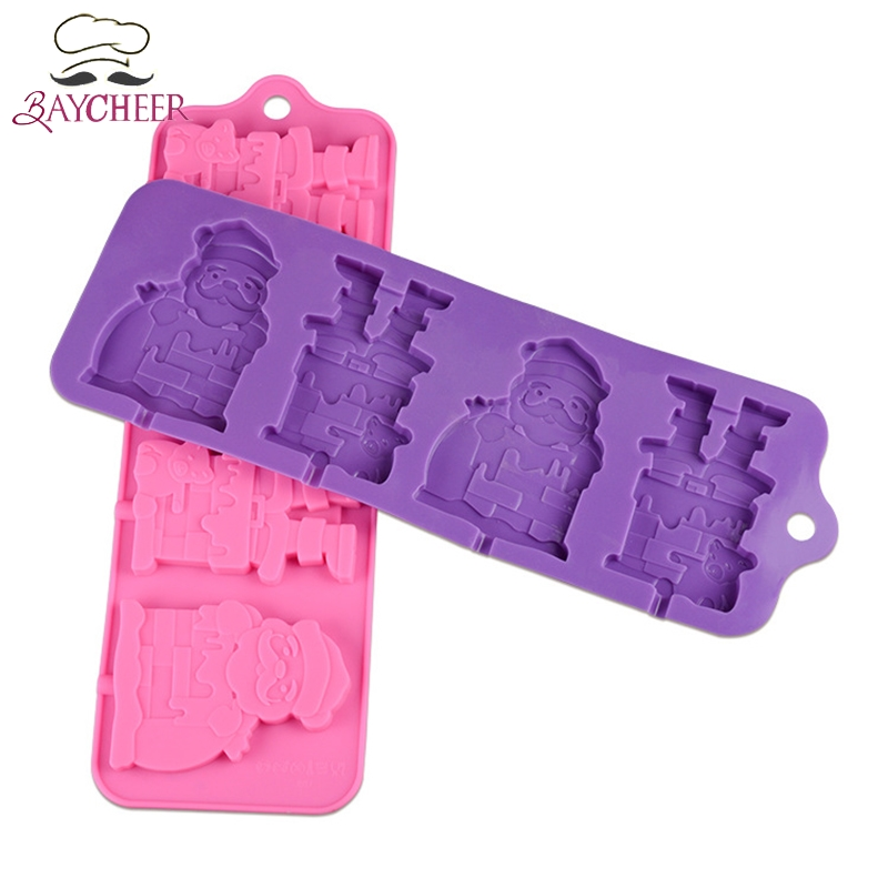 Купить с кэшбэком Christmas 4 Grids Santa Claus Silicone Lollipop Mold DIY Chocolate Cake Candy Cookies Fondant Mould Kitchen Baking Tools
