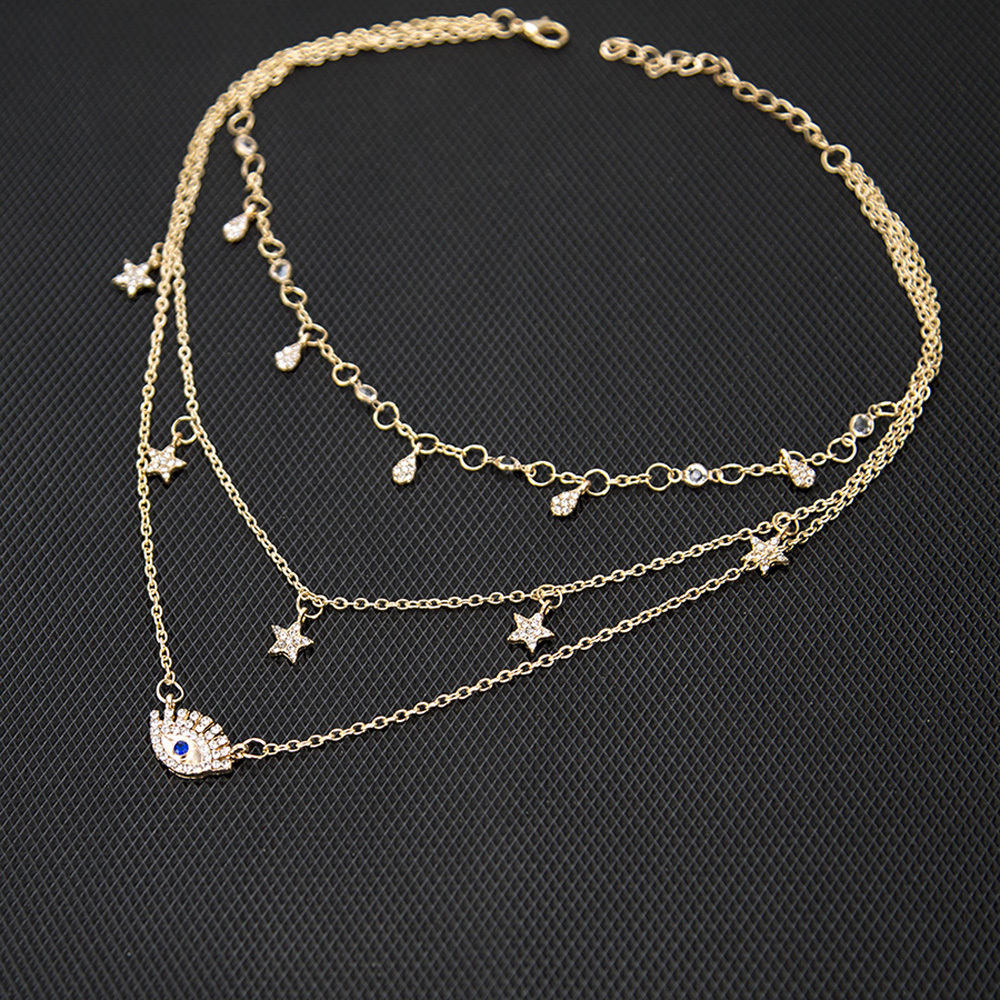 New Boho Multilayer Gold Color Alloy Link Chains Chokers Necklace Stars Crystal Pendants&Necklaces For Women Girl Choker Collar 40