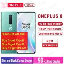 العالمية الثابتة Oneplus 8 5G الهاتف الذكي 6.55 بوصة 90Hz أنف العجل 865 الثماني النواة في شاشة إفتح NFC