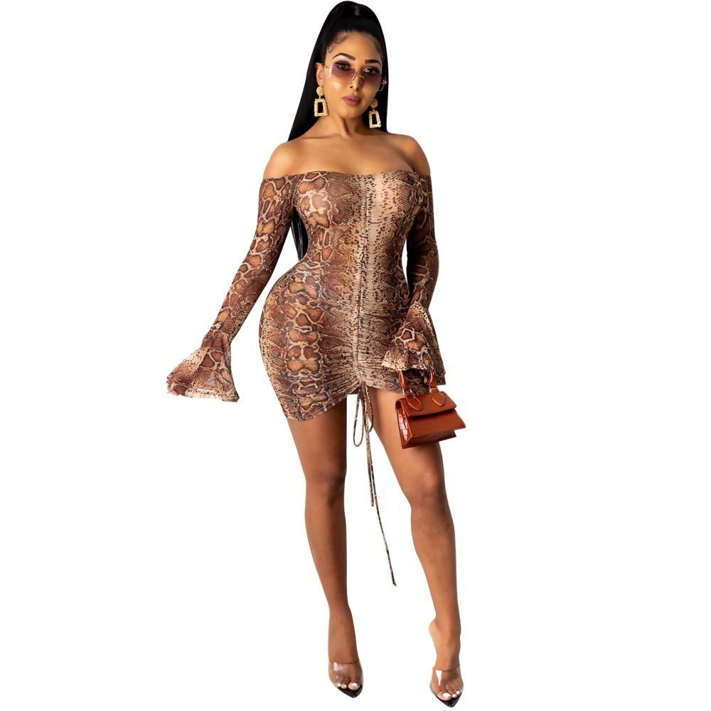 Snake Tie Dye Printed Ruch Drawstring Wrap Dress Woman Off Shoulder Long Flare Sleeve Sheath Dresses Retro Backless Robe Femme 8