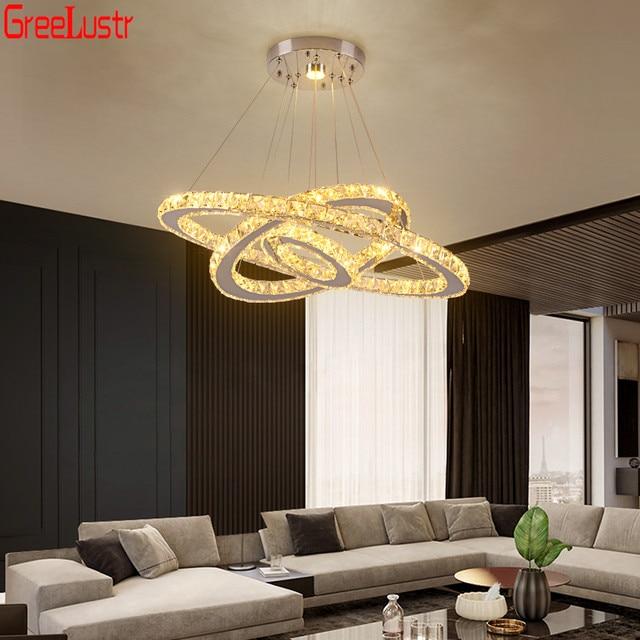 3 แหวนโคมไฟระย้าคริสตัลสแตนเลสLEDโมเดิร์นจี้Home DecoแขวนโคมไฟแขวนโคมไฟAvize