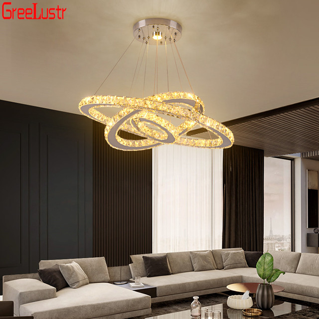 Lampe Led suspendue en acier inoxydable avec 3 anneaux, produit de luxe, Luminaire décoratif dintérieur, Luminaire dintérieur