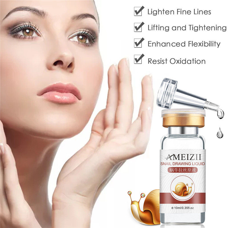 10ml Ameizii Snail Essence Care Moisturizing Anti-Aging Essence Facial Cosmetics Skin Smooth Whitening Fading Spots Elasticity