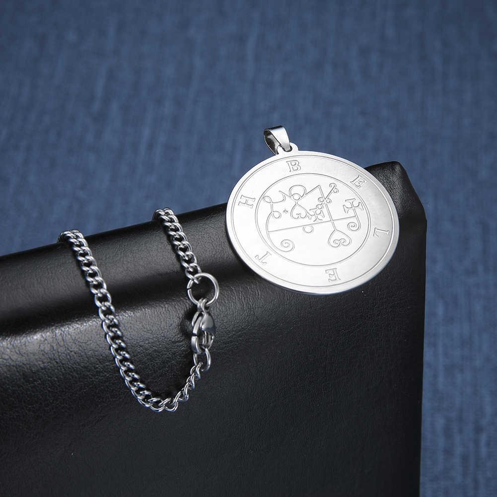 LIKGREAT ze stali nierdzewnej stalowy wisiorek naszyjnik dla mężczyzn wielki król Beleth mniej klucz salomona Seal kabała talizman biżuteria w stylu Vintage