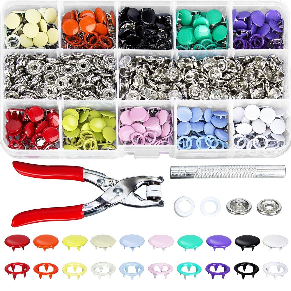200pcs 9.5 milímetros 10 Cores Pinos de Metal Botão Snap Fixadores Grommets Kit com Ferramentas Alicate de Pressão Da Mão para DIY roupas Artesanato