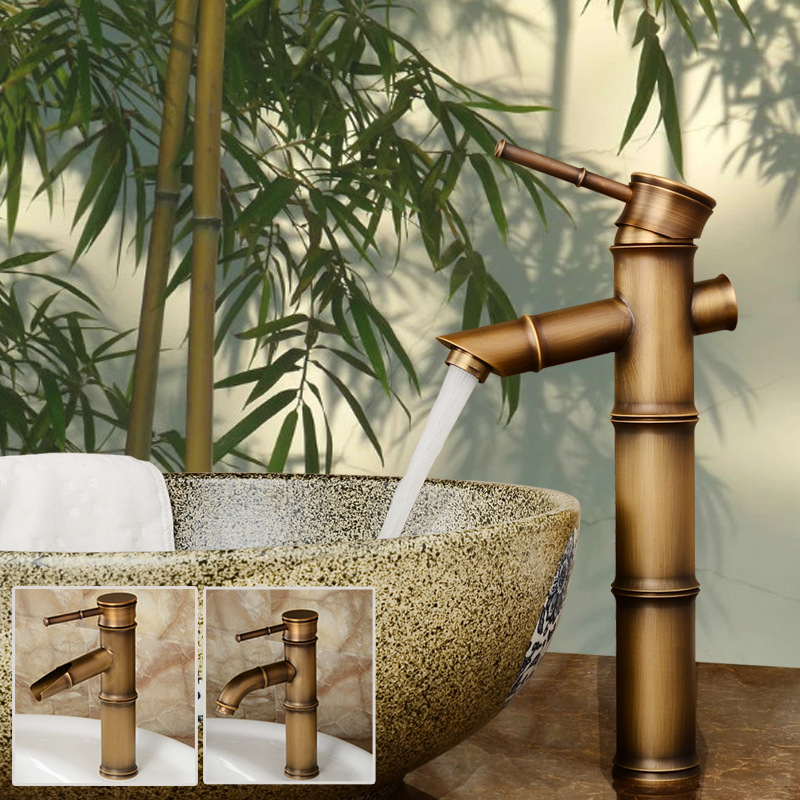 Antique Bathroom Faucet Brass Basin Faucets European Retro Style Vessel Tall Bamboo Sink Tap Hot and Cold Water Mixer Tap Crane