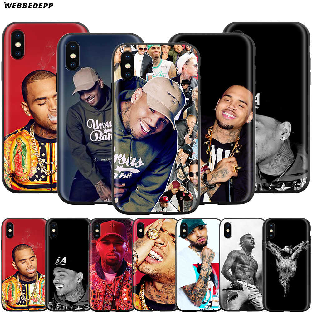 Webbedepp chris brown estojo para apple iphone 11 pro xs max xr x 8 7 6 s plus 5 5S se