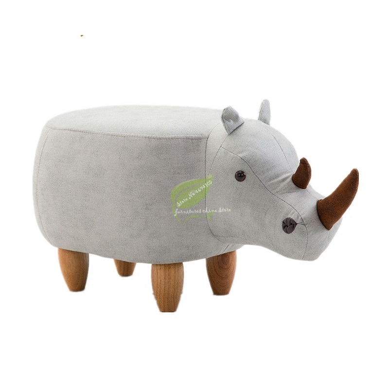 Rhinoceros Stool Animal Test Shoe Bench Solid Wood Shoes Stool Home Storage Stool Sofa Stool Ottoman