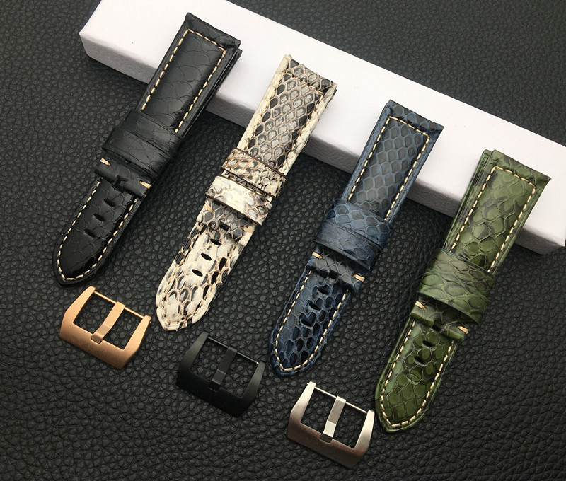 Luxury Brand 22mm 24mm Red White Black Green Blue real snake Calf Leather Watchband for Panerai strap watch band pin buckle tool(China)