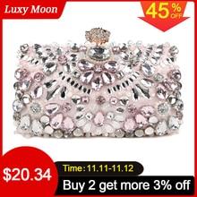 Luxyムーン女性のイブニングクラッチバッグラインストーンクラッチ財布女性のハンドバッグ結婚式のハンドバッグ財布パーティーバッグZD848