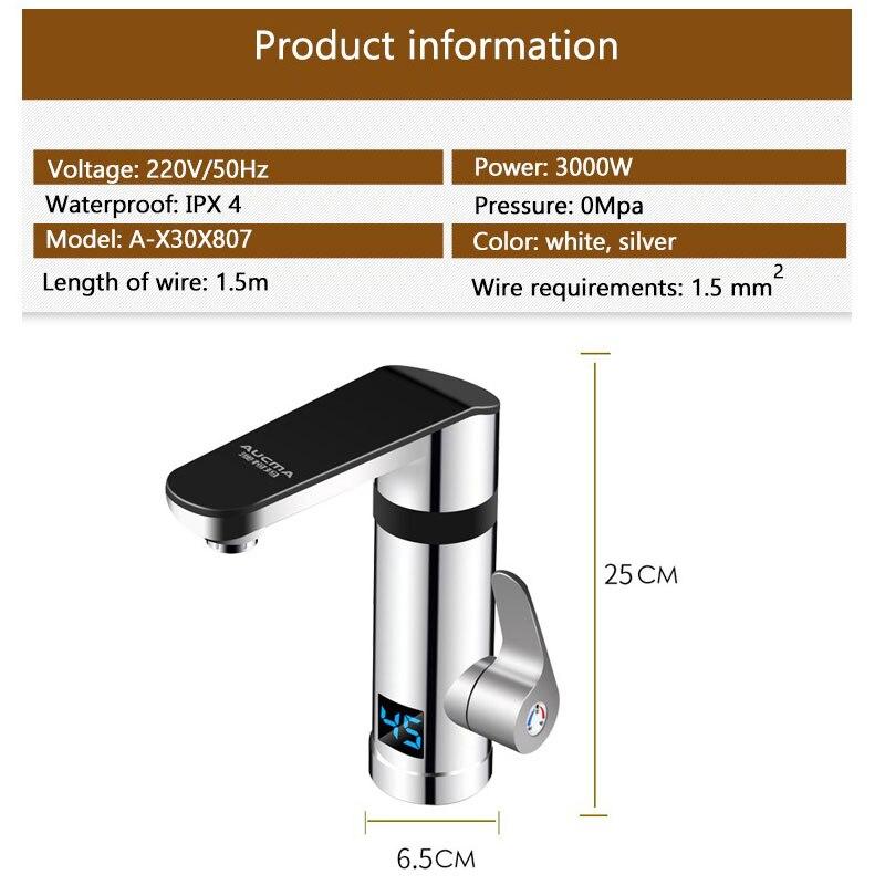 3000W Instan tWater chauffage électrique robinet sans réservoir rapide chauffage robinet de cuisine avec affichage de la température chaud froid double usage - 6