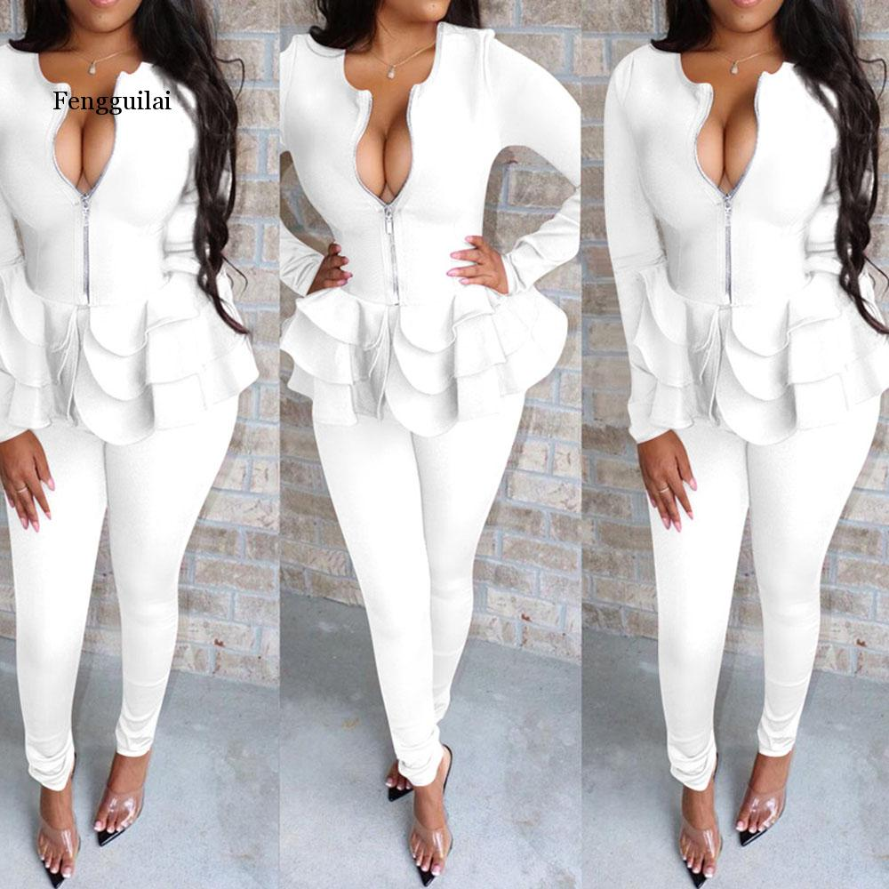 Office Ladies Two Piece Set Women Sexy Autumn Elegant Black Long Sleeve Sexy V Neck Ruffle Blouse Long Pencil Pants Causal Suits