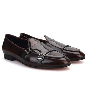 Image 5 - Piergitar zapatos de piel de becerro hechos a mano con hebilla de metal para hombre, mocasines de moda para fiesta y boda, zapatillas para fumar de talla grande