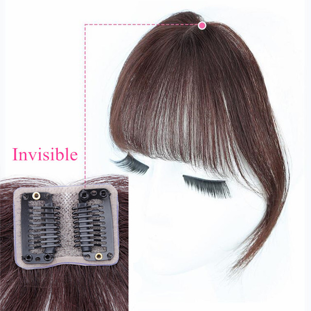 Middle Part Clip In Bangs Human Hair Fringe Air Bangs Brazilian Hair Pieces Invisible Non-remy Replacement Hair Wig alipearl