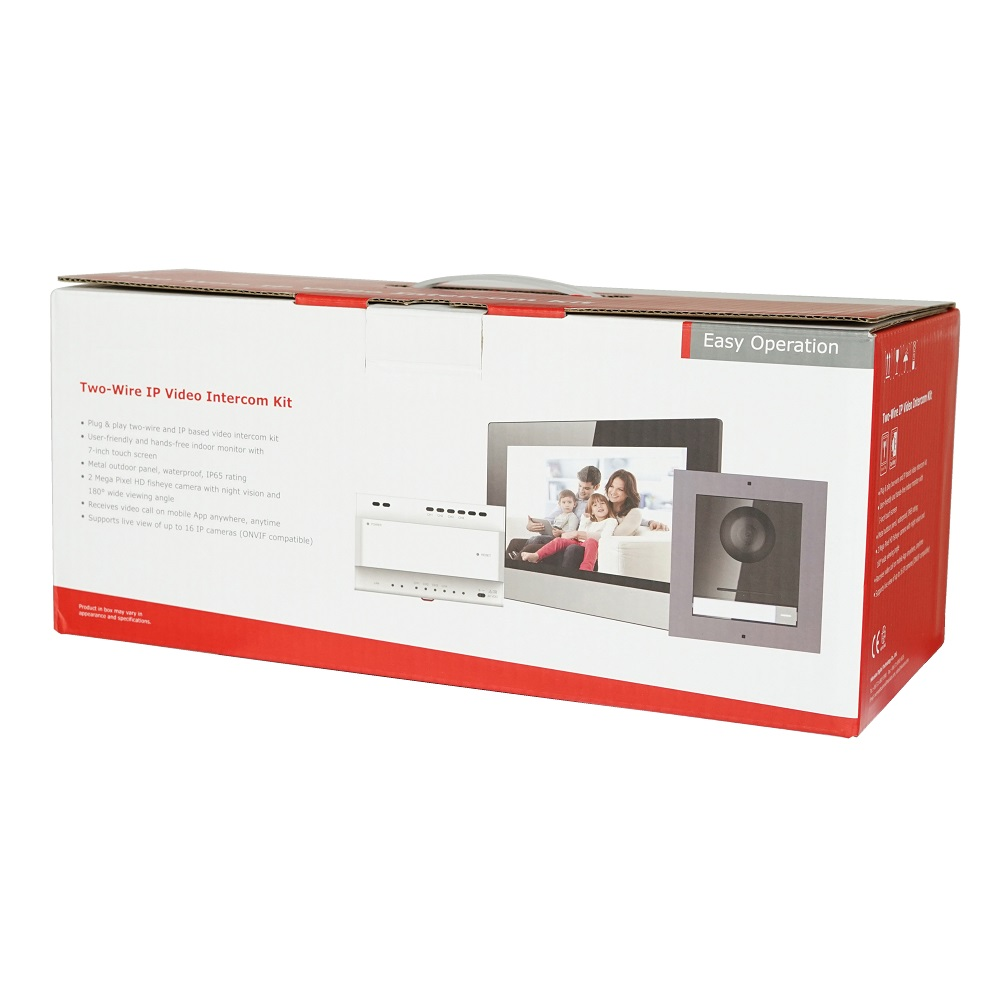 Hik Original Multi-language 2-Wire Video Intercom KIT, Include DS-KD8003-IME2 & DS-KH6320-WTE2 & DS-KAD704 , 2-Wire Doorbell