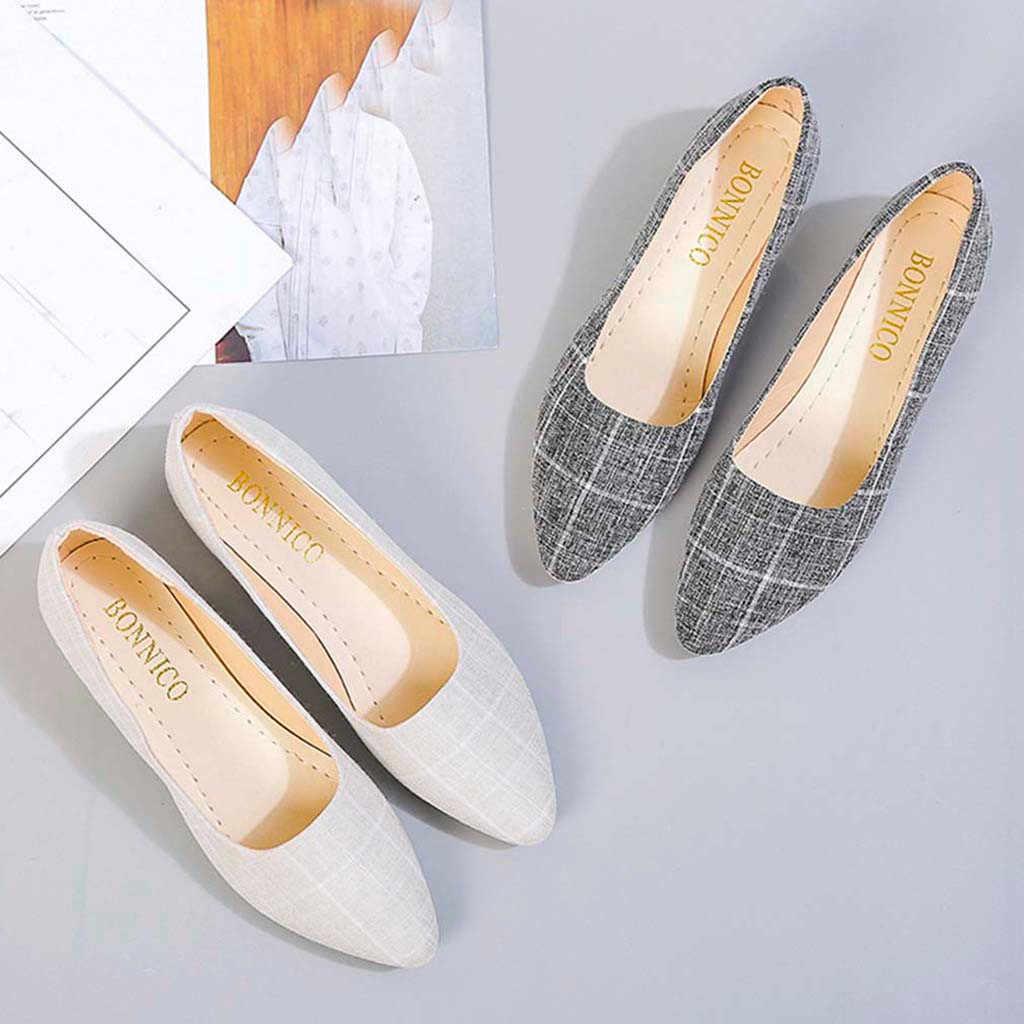נשים יחידה להחליק על נעלי צבעים בוהקים משובץ אישה סירת מוקסינים שחורים גבירותיי בלט נעלי נשים 2019 Dropship #3