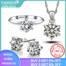 Yanhui 100% Asli 925 Sterling Silver Jewelry Set Luxury 1 Karat LAB Cincin Berlian Anting-Anting Kalung Set Pernikahan Aksesoris(China)