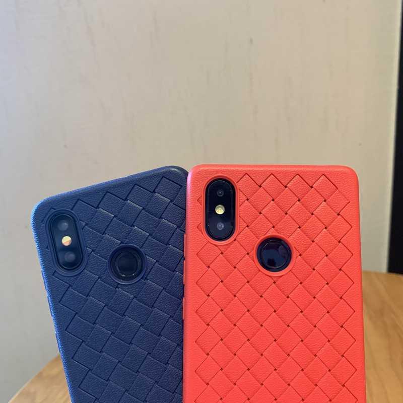 Menenun Tenun Grid TPU Silikon Cover Case untuk Xiao Mi Mi 8 9 9T Se A3 Lite Merah mi Note 5 Plus 6 6A 7 7A 8 K20 Pro S2 Tritone