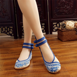 Image 3 - 수제 패션 여성 발레리나 춤 신발 중국어 꽃 자수 부드러운 캐주얼 신발 천으로 산책 메리 제인 아파트
