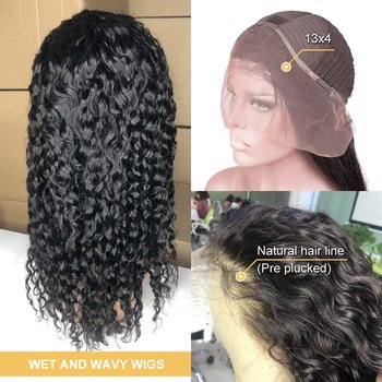 water wave wig short curly lace front human hair wigs for black women bob Long
