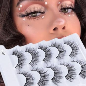 5 Pair Mink Hair False Eyelashes Natural Long Wispies Lashes Handmade Cruelty-free Criss-cross Eyelashes Makeup Tools long false eyelashes set 5 pair