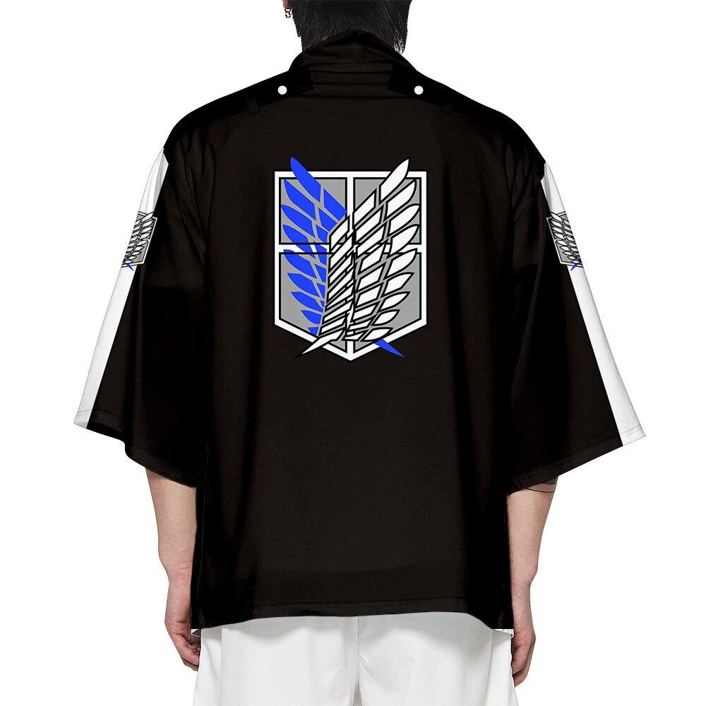 Anime Attack On Titan Printing Japanese Kimono Haori Yukata Cosplay Fashion Summer Casual Cool Short Sleeve Streetwear 2021