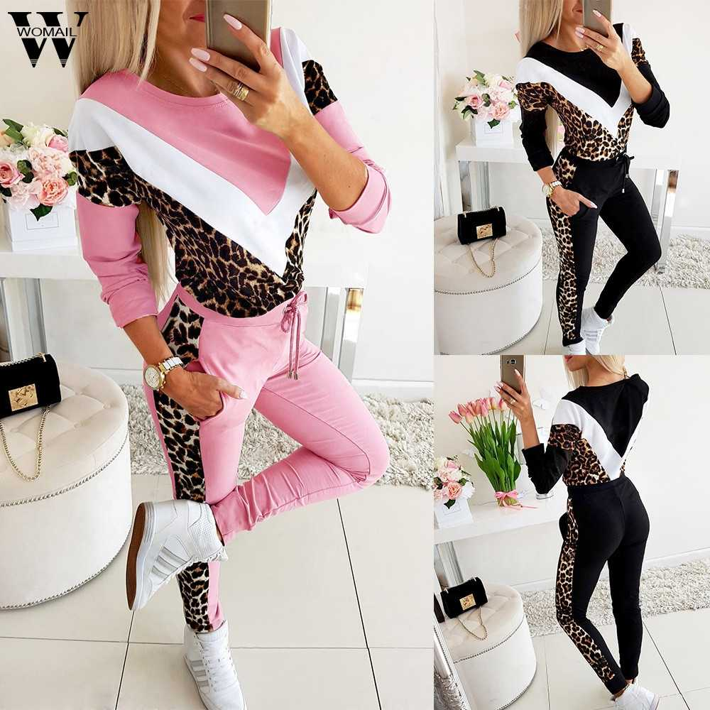 Womail Tracksuit Women 패션 가을 양털 레오파드 패치 워크 o 넥 스웨트 + 롱 팬츠 Two Piece Set Outfit Mujer Sport set