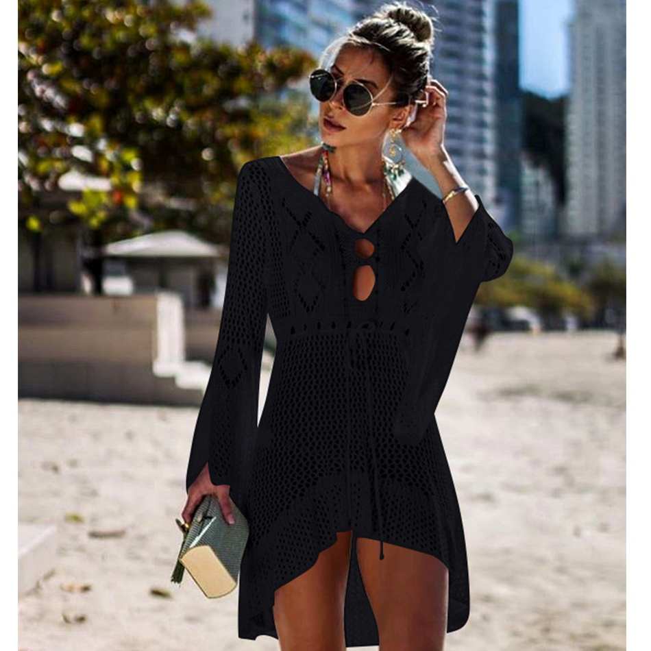 New Knitted Beach Cover Up Women Bikini Swimsuit Cover Up Hollow Out Beach Dress Tassel Tunics Bathing Suits Cover-Ups Beachwear 13