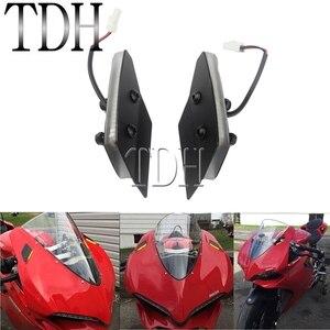 1 пара светодиодных зеркал, блок выключения сигнала поворота, передний янтарный индикатор, мигалка для Ducati Panigale 959 1299, все