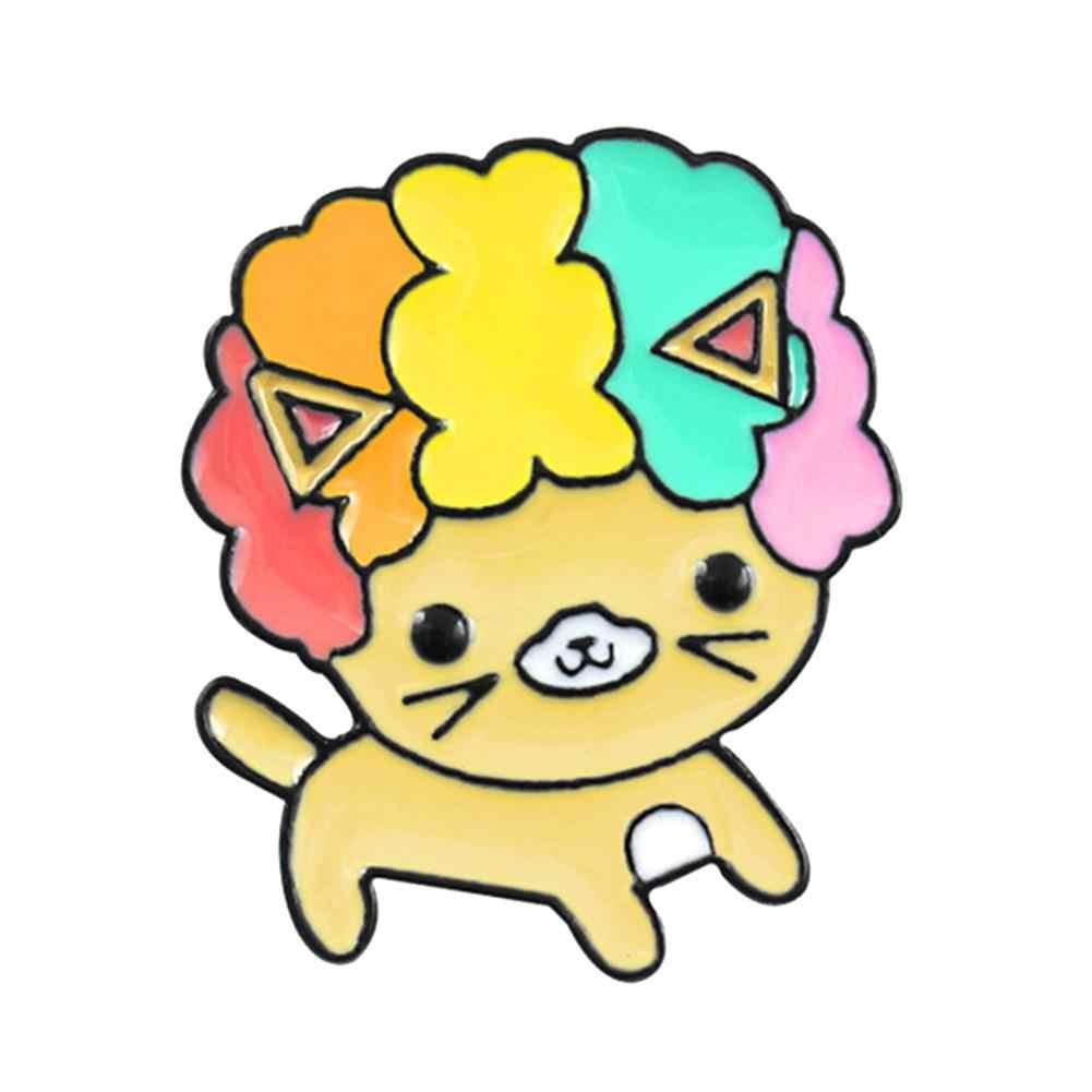 巻き毛漫画犬エナメルブローチピンデニムジャケットバックパックバッジ