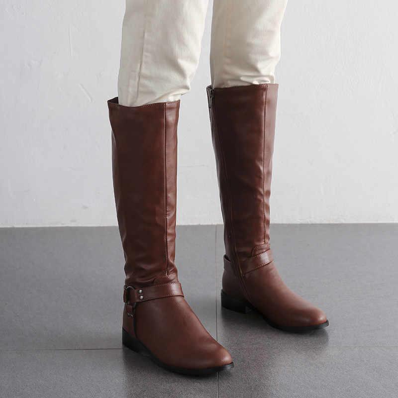 MORAZORA 2020 heißer verkauf frauen knie hohe stiefel runde kappe zip niet Ritter stiefel herbst winter niedrigen heels schuhe weibliche große größe 43