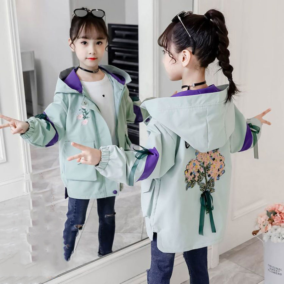 Teenage Girls Flower Windbreaker Jacket Spring Autumn Embroidered Hooded Outerwear Girls Clothes Children's Trench Coat Clothing