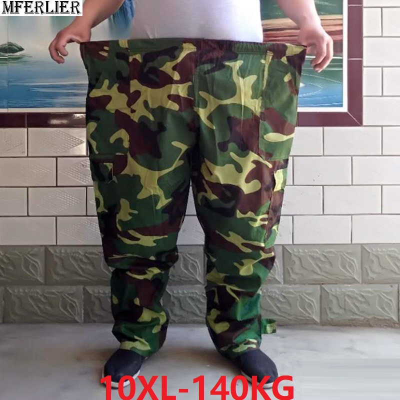Large Size Men's Cargo Pants Elastic Waist Plus Size 8XL 9XL 10XL Camouflage Army Green Out Door Military Style Work Pants 140KG